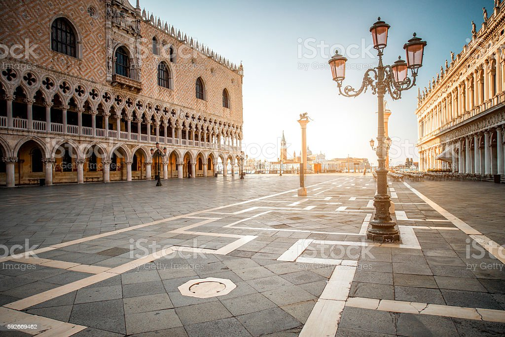 Central square in Venice stock photo