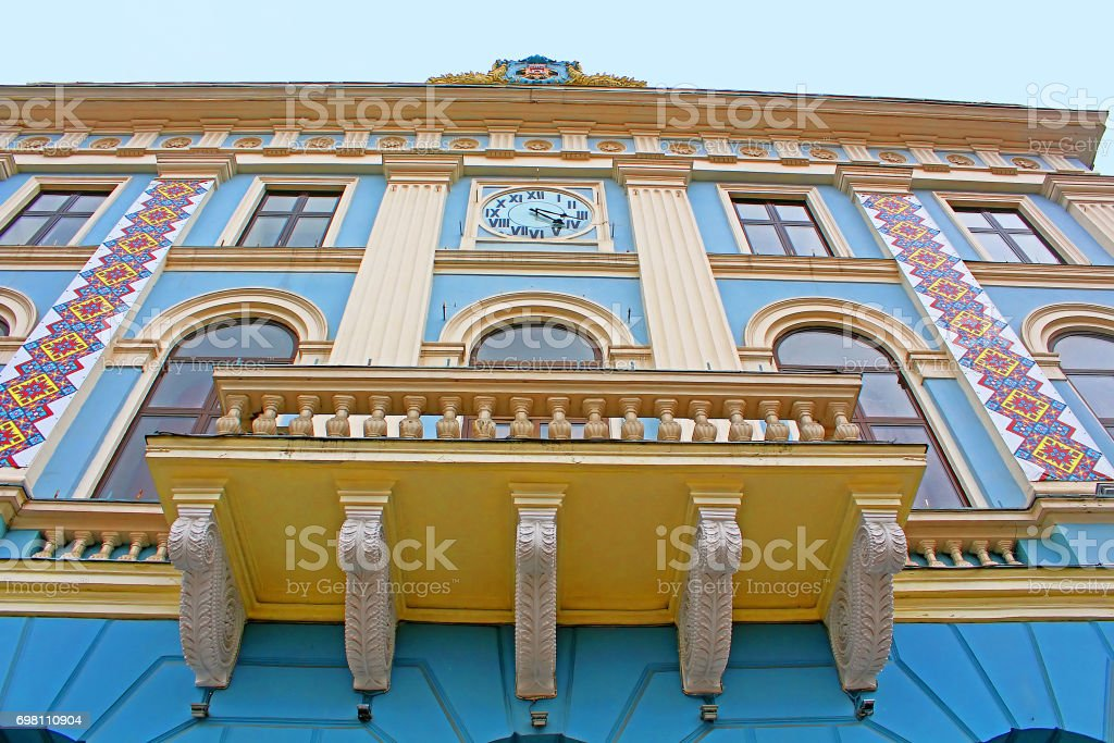Central square. Municipality of the city. Architecture in the old town Chernivtsi. Western Ukraine stock photo