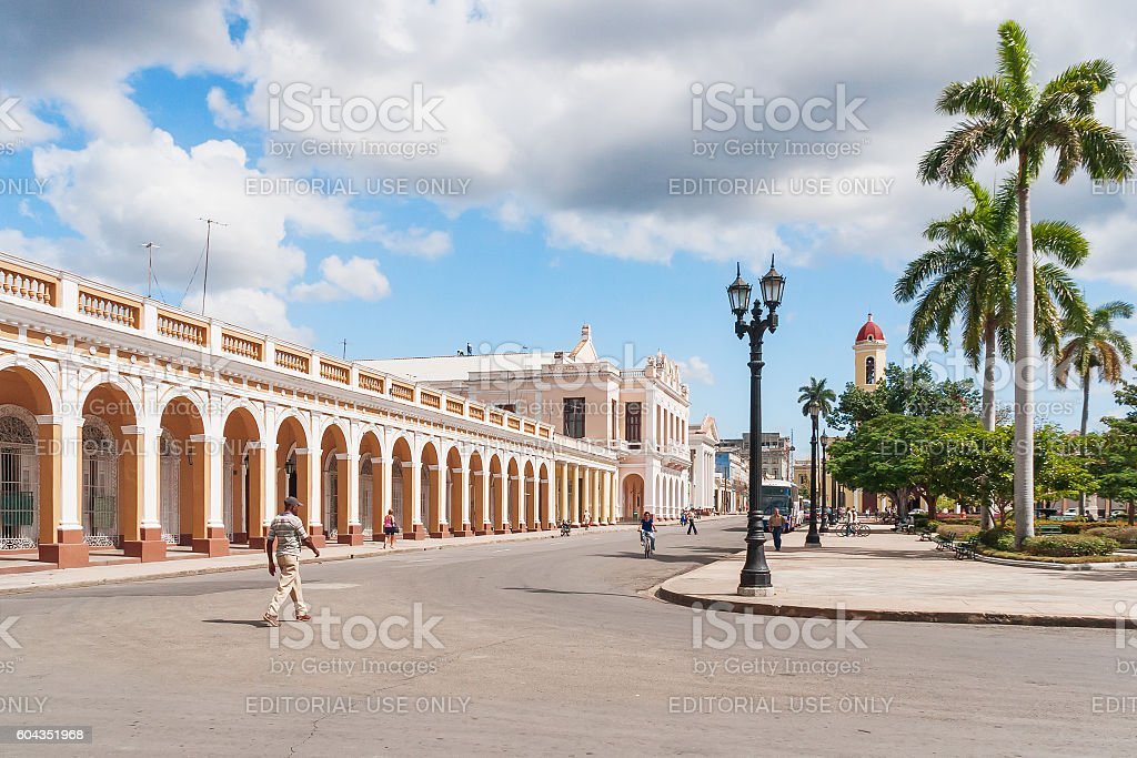 Central square of Cienfuegos town, Cuba. stock photo
