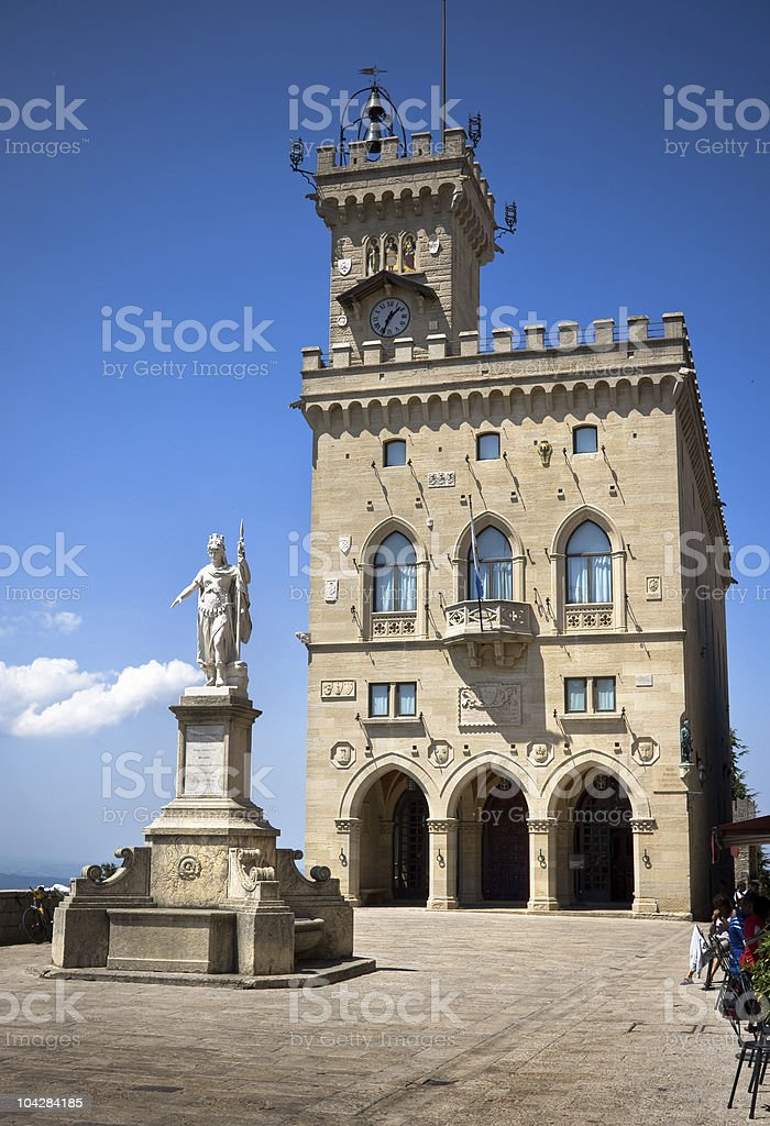 Central square of San Marino stock photo