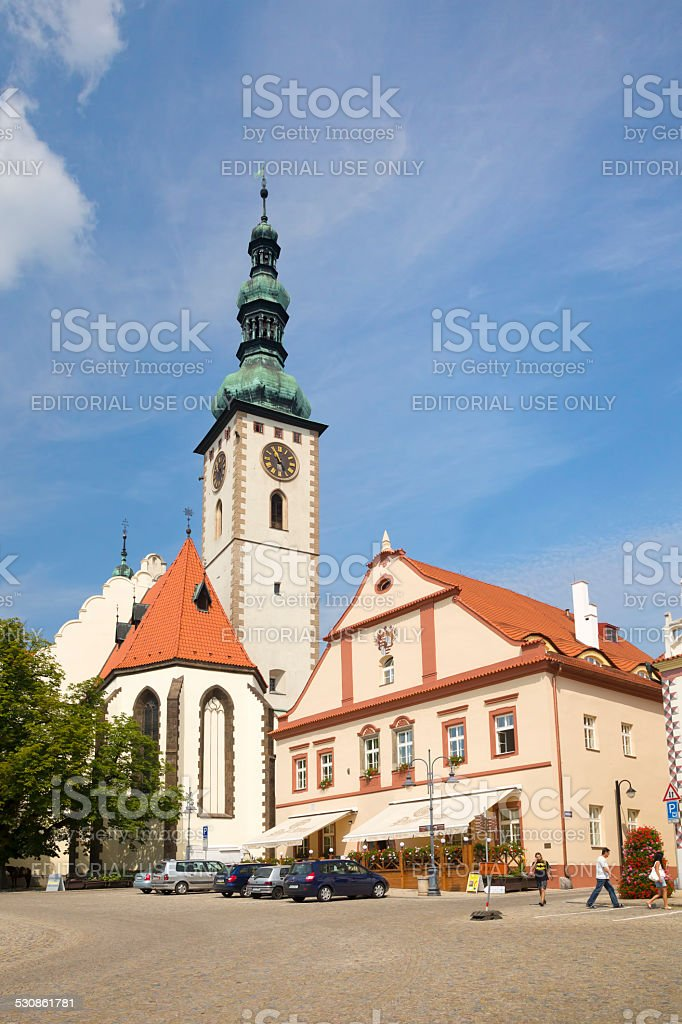 Central square of Tabor, Czech Republic stock photo