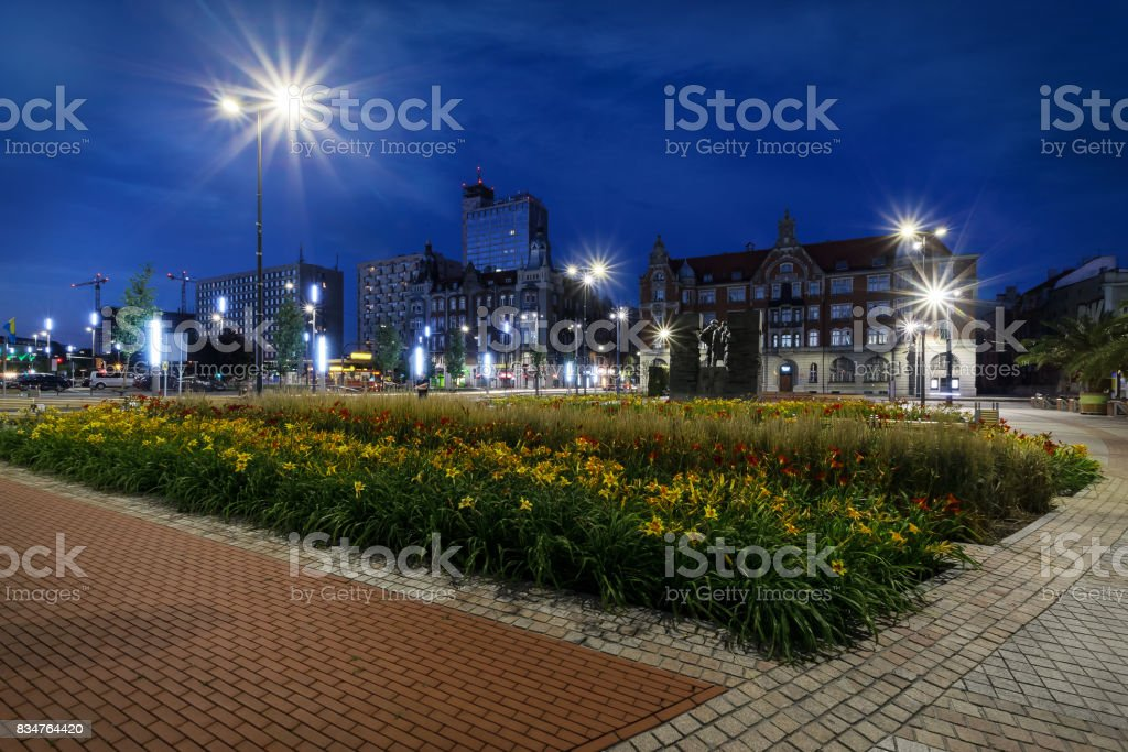 Central square of the Katowice in the evening. stock photo