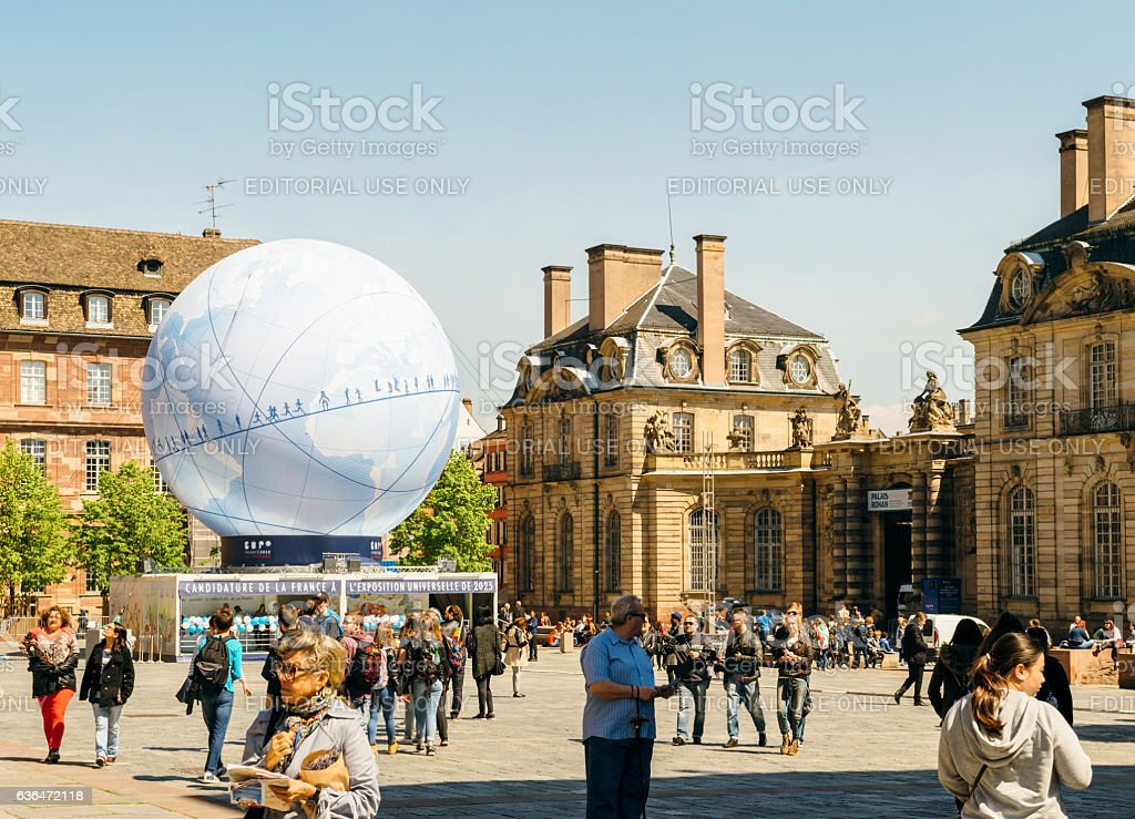 Central square with France Candidacy for World Fair 2025 stock photo