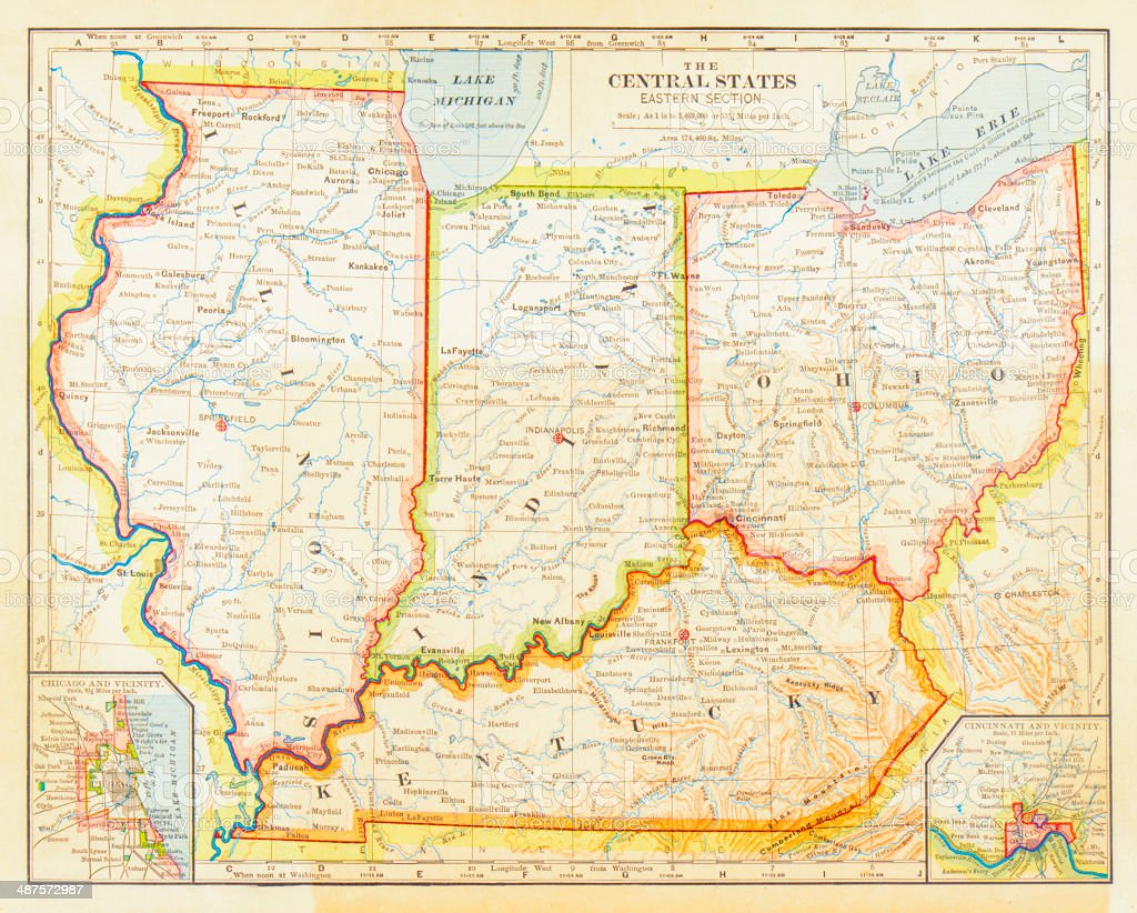 1883 Central States Map stock photo