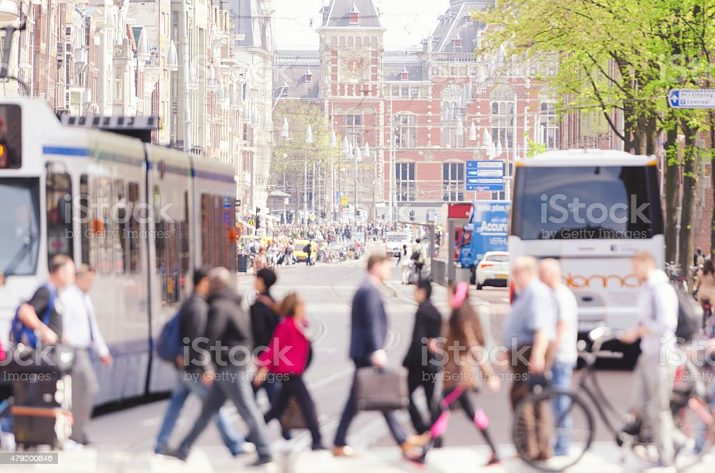 Central Station Amsterdam from Damrak stock photo