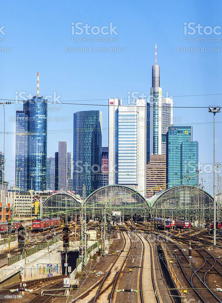 central station Frankfurt am Main with skyscrapers royalty-free stock photo