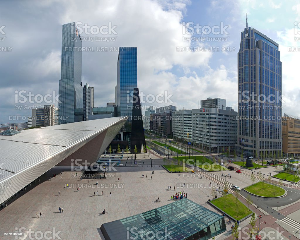 Central Station Square in Rotterdam, the Netherlands stock photo