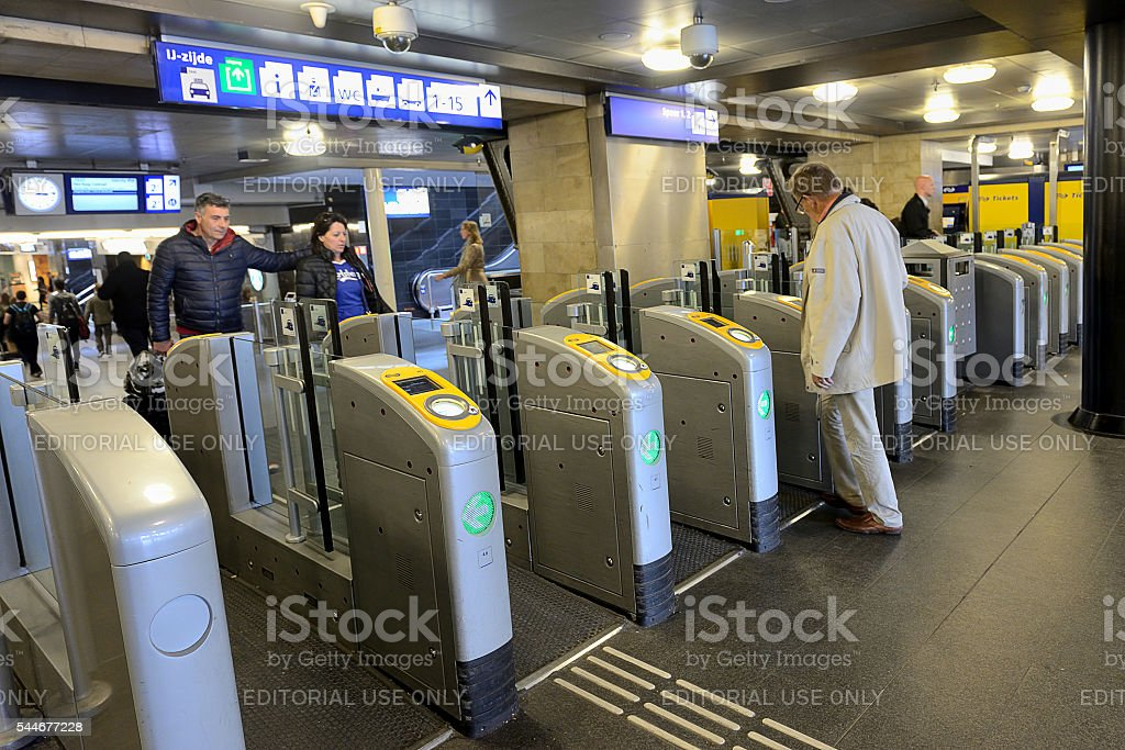Central Train Station in Amsterdam stock photo
