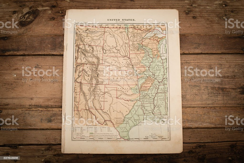 Central United States Map Illustration, Travel, Antique 1871 Book Page stock photo