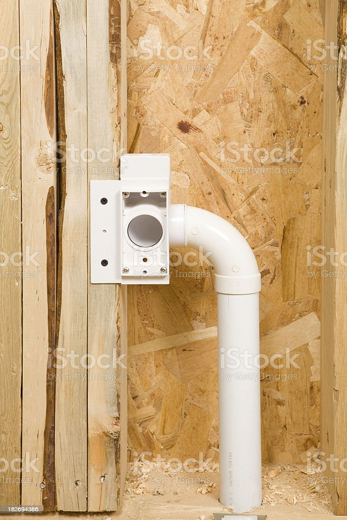 Central Vacuum Plumbing in a New Home Construction Project stock photo