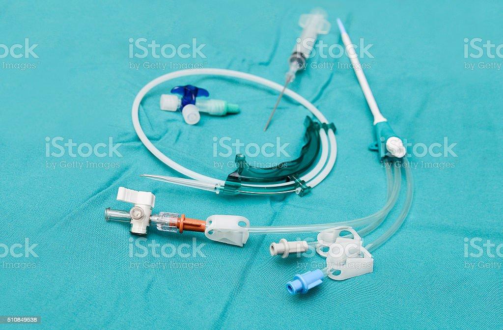Central venous catheter set stock photo