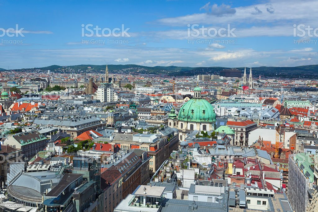 Central Vienna from above stock photo