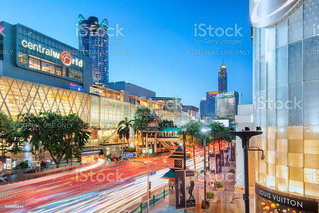 Central World Shopping Center at Rajaprasong intersection, Bangkok, Thailand stock photo