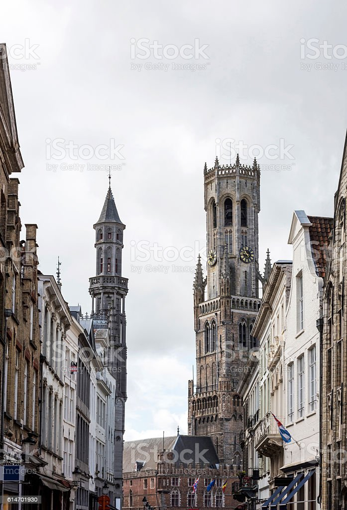 Centre bell tower in Bruges City, Belgium stock photo