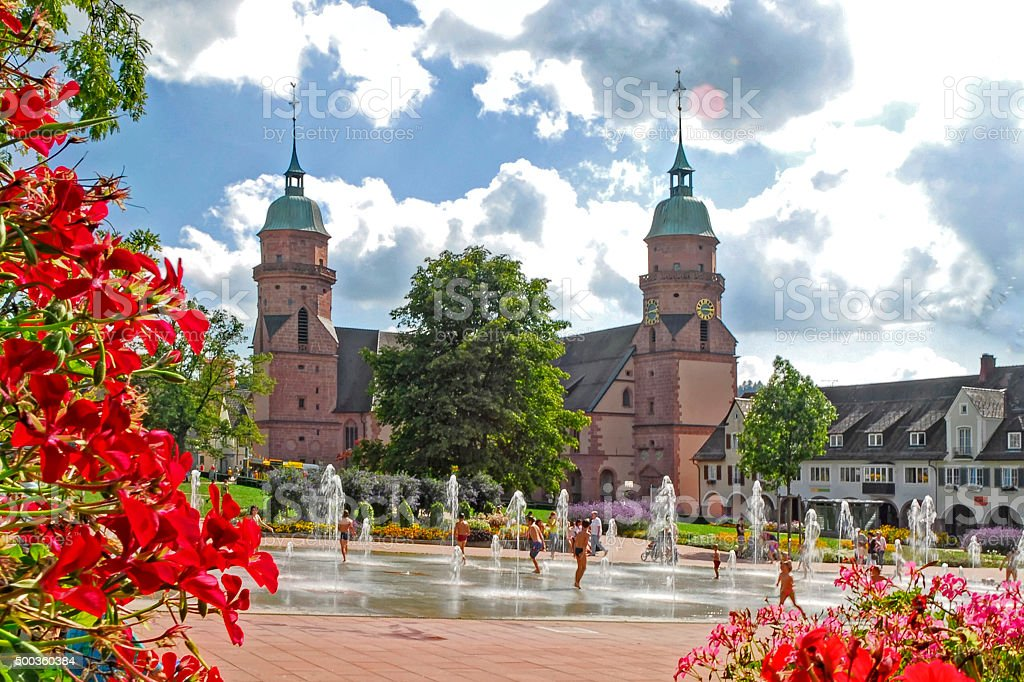 Centre Freudenstadt with church and fountains stock photo