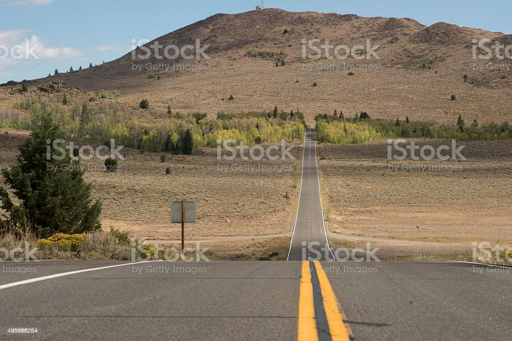 Centre line of Highway 89 stock photo