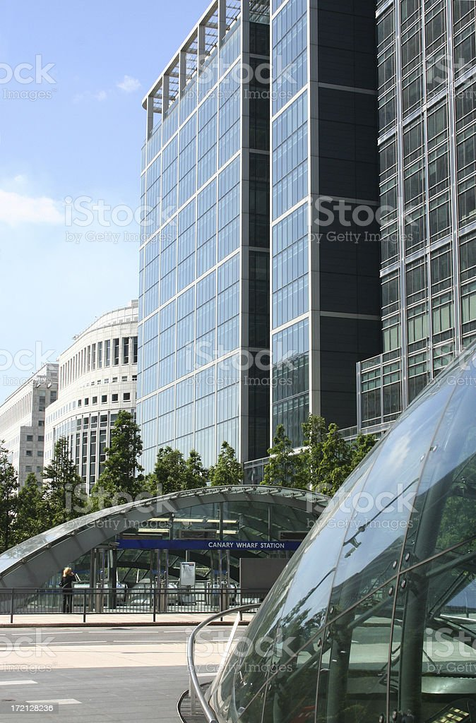 Centre of Canary Wharf in London, England stock photo