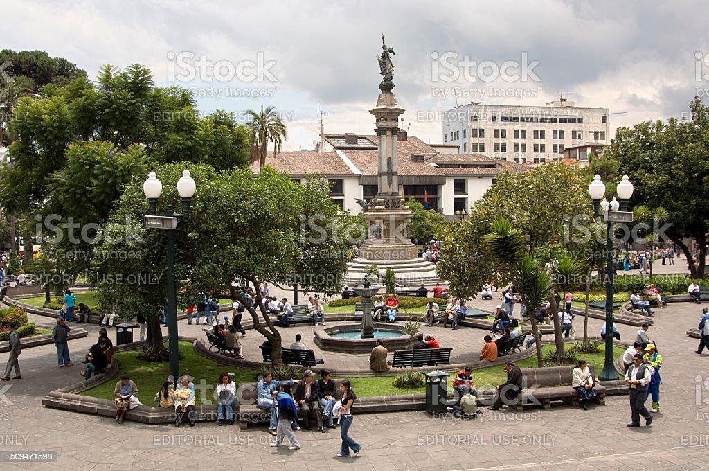 Centre Square Plaza Grande, Quito Ecuador stock photo