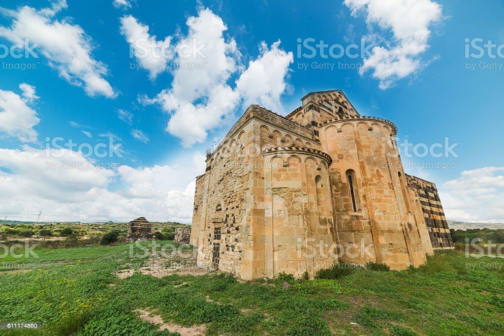 XII century church under a blue sky stock photo