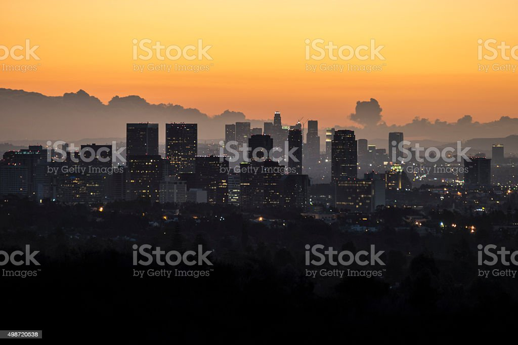 Century City, Beverly Hills and Downtown Los Angeles stock photo