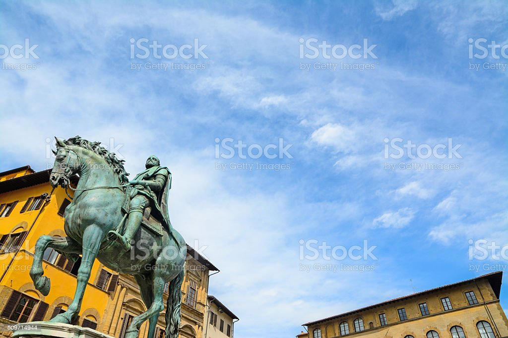 XVI century Cosimo I statue in Piazza della Signoria stock photo
