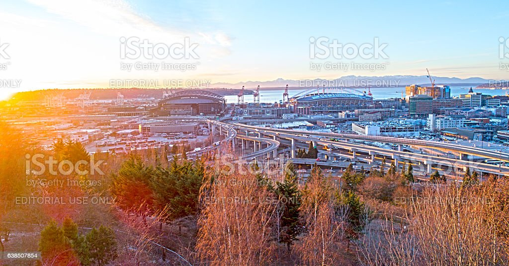 Century Link and Safeco Field Stadiums Seattle Downtown at Sunset stock photo