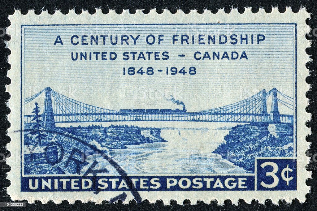 Century Of Friendship Between The USA And Canada Stamp stock photo