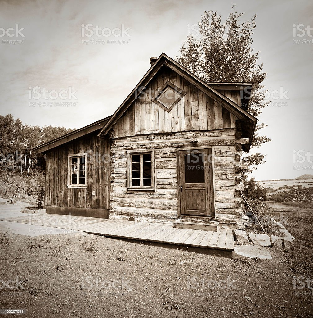 Century Old Pioneer cabin stock photo