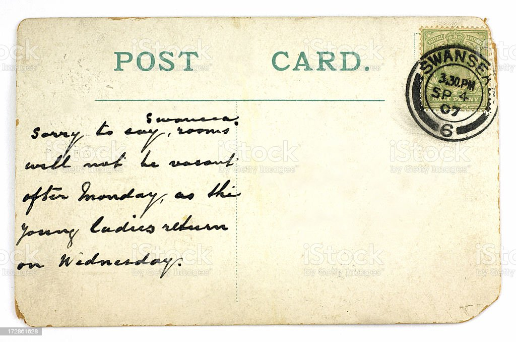 Century Old Postcard Sent from Wales stock photo