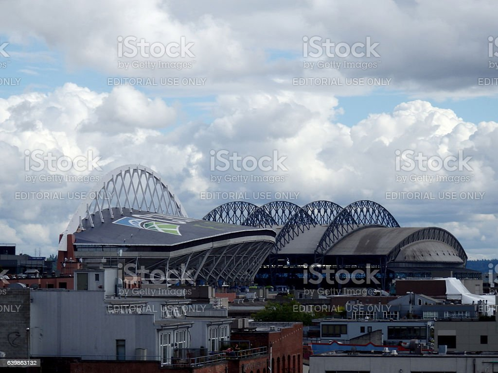 CenturyLink Field and Safeco on a cloudy day stock photo