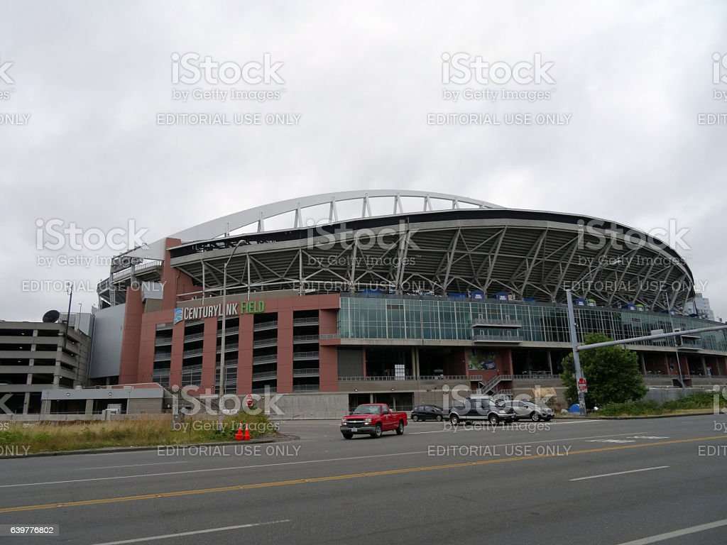 CenturyLink Field on a cloudy day stock photo