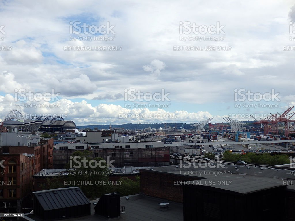 CenturyLink, Safeco Field, major commercial dock on a cloudy day stock photo