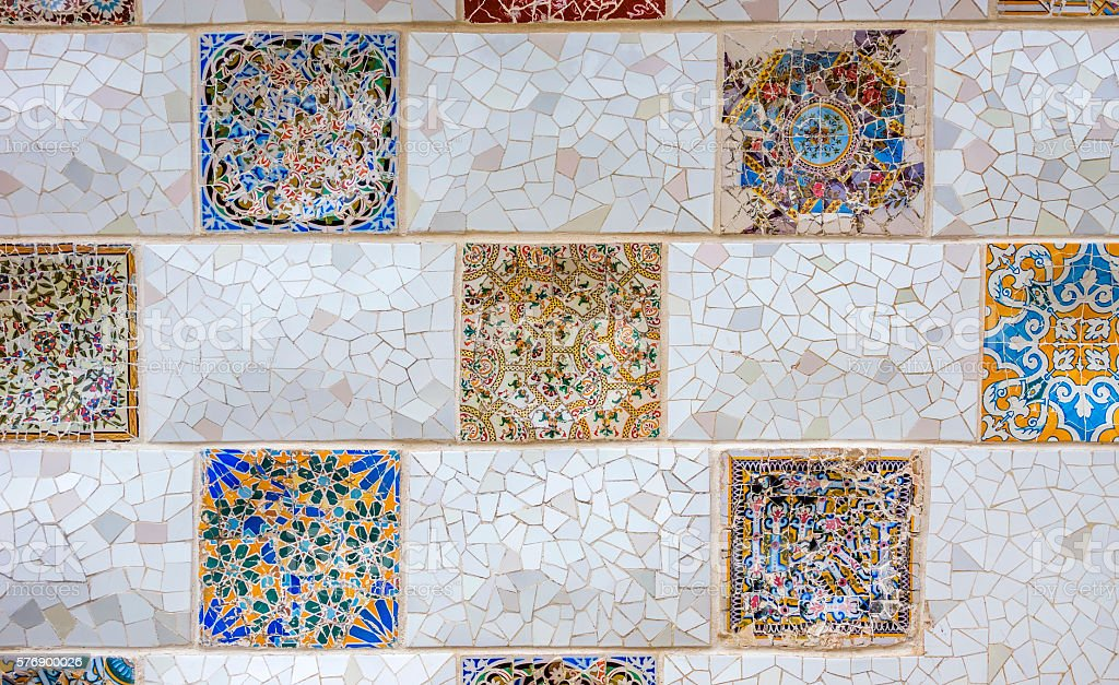 Ceramic art in Park Guell stock photo