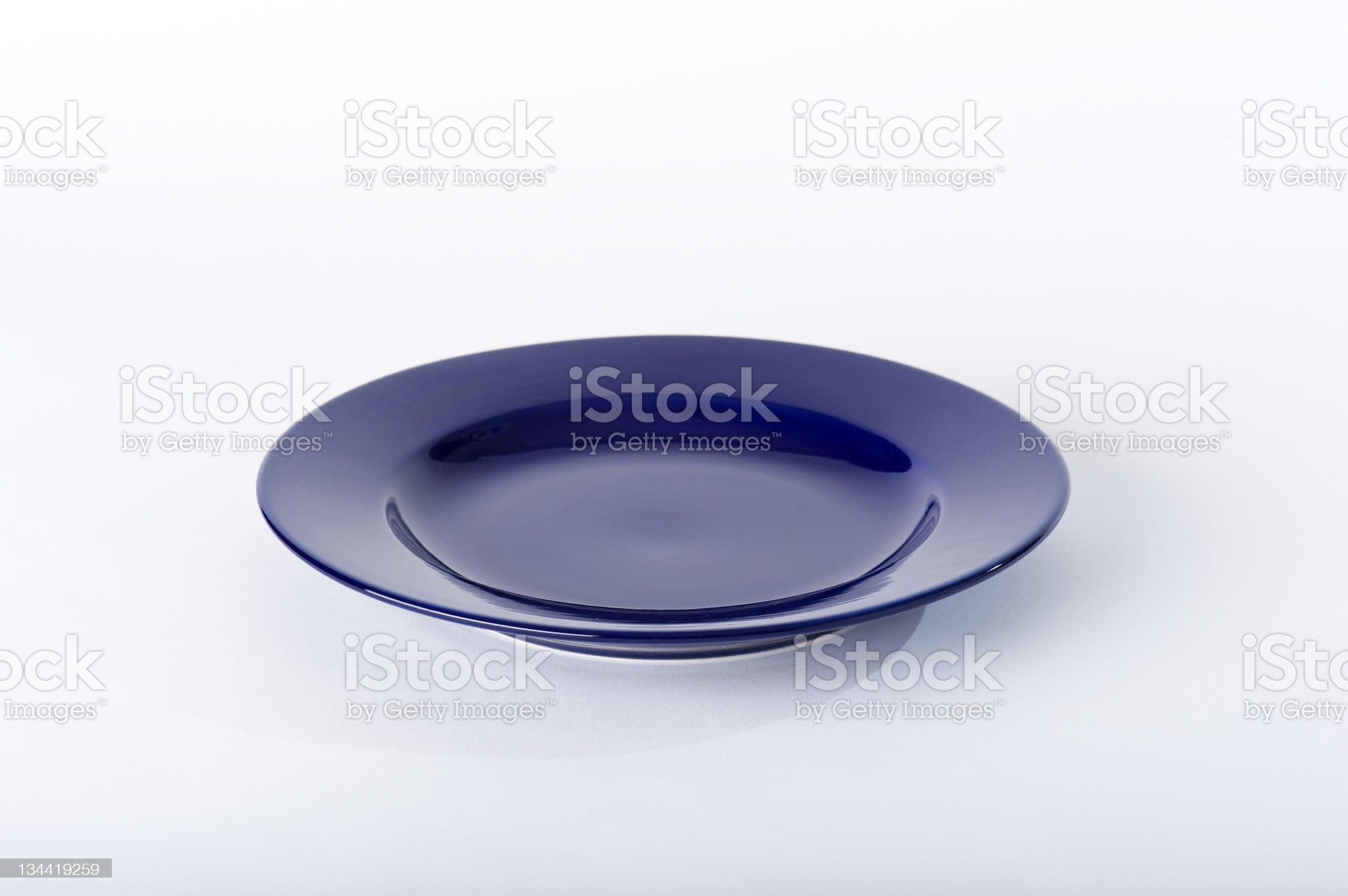 Ceramic Blue Dish on White Background royalty-free stock photo