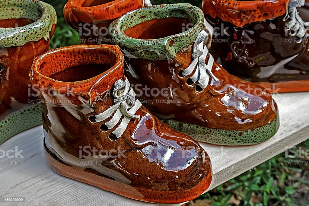 Ceramic boots royalty-free stock photo