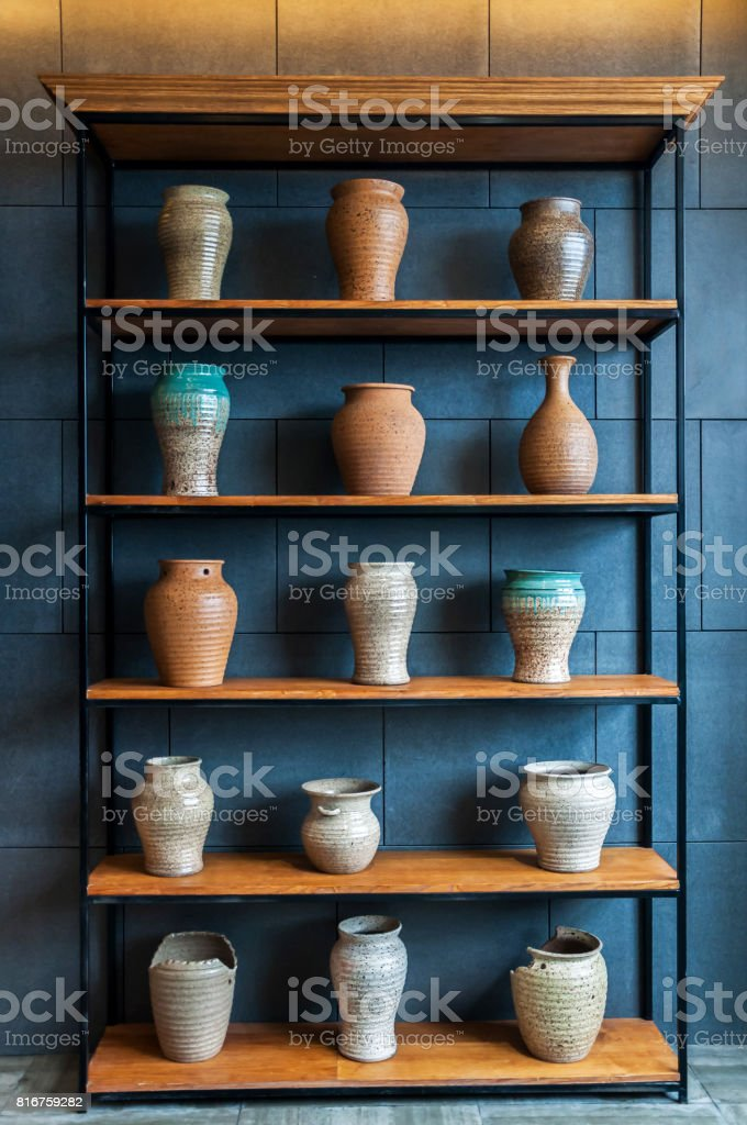 ceramic bottle on the shelf