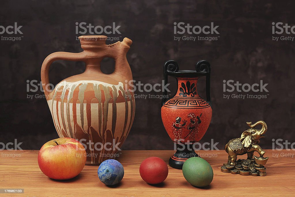 Ceramic bowl and Easter eggs royalty-free stock photo