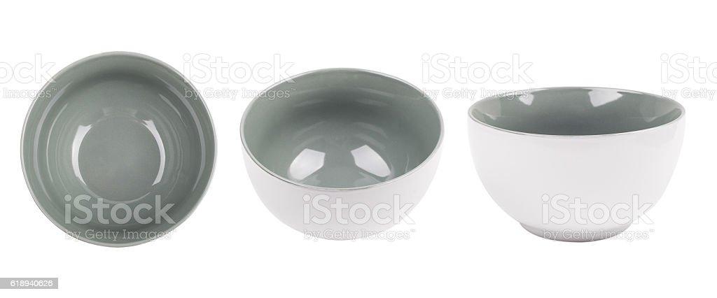 Ceramic bowl isolated on white background stock photo