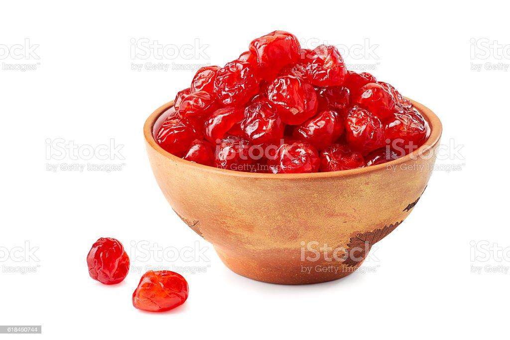 Ceramic bowl of dried cherries on white stock photo