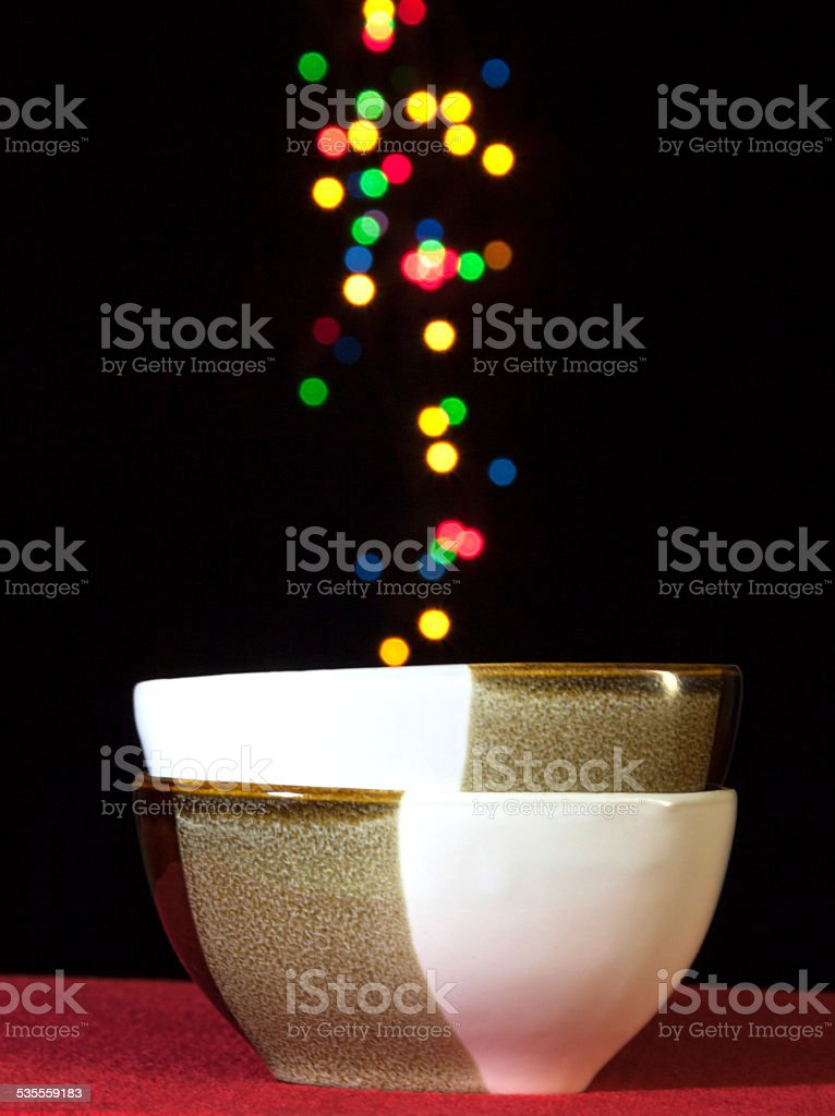 Ceramic bowl with colourful bokeh royalty-free stock photo