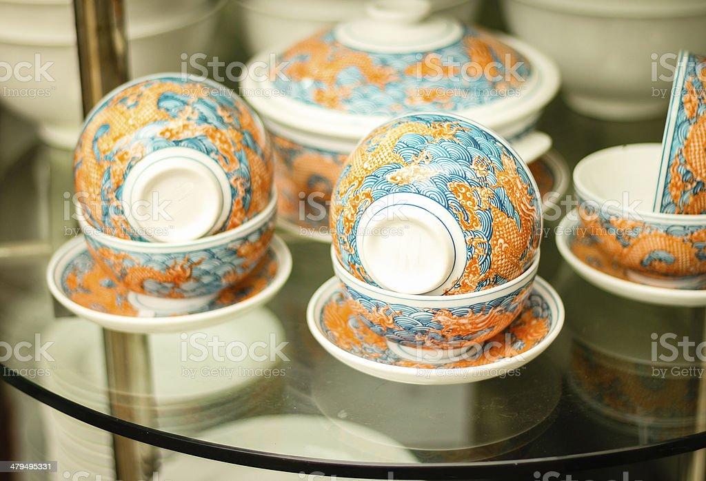 Ceramic bowls in Bat Trang village - Vietnam stock photo