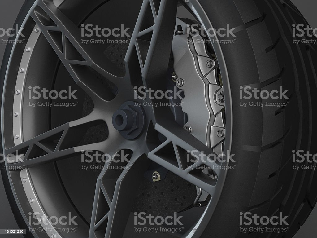 Ceramic Brake System with tyre and rim royalty-free stock photo