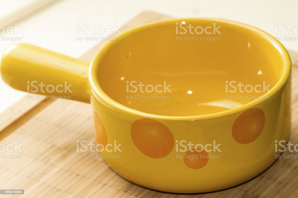 Ceramic Caquelon for Fondue stock photo