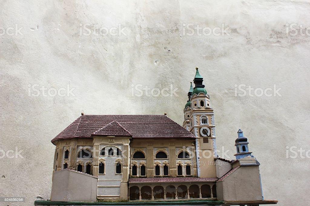 Ceramic catholic cathedral model stock photo