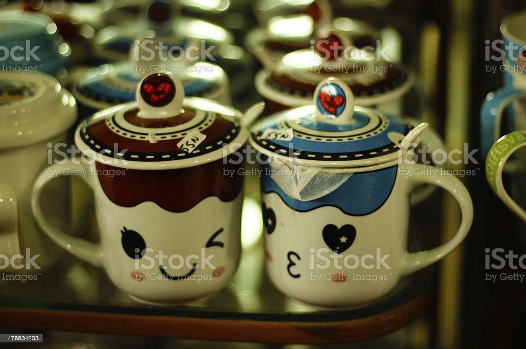 Ceramic couple in Bat Trang village - Vietnam stock photo
