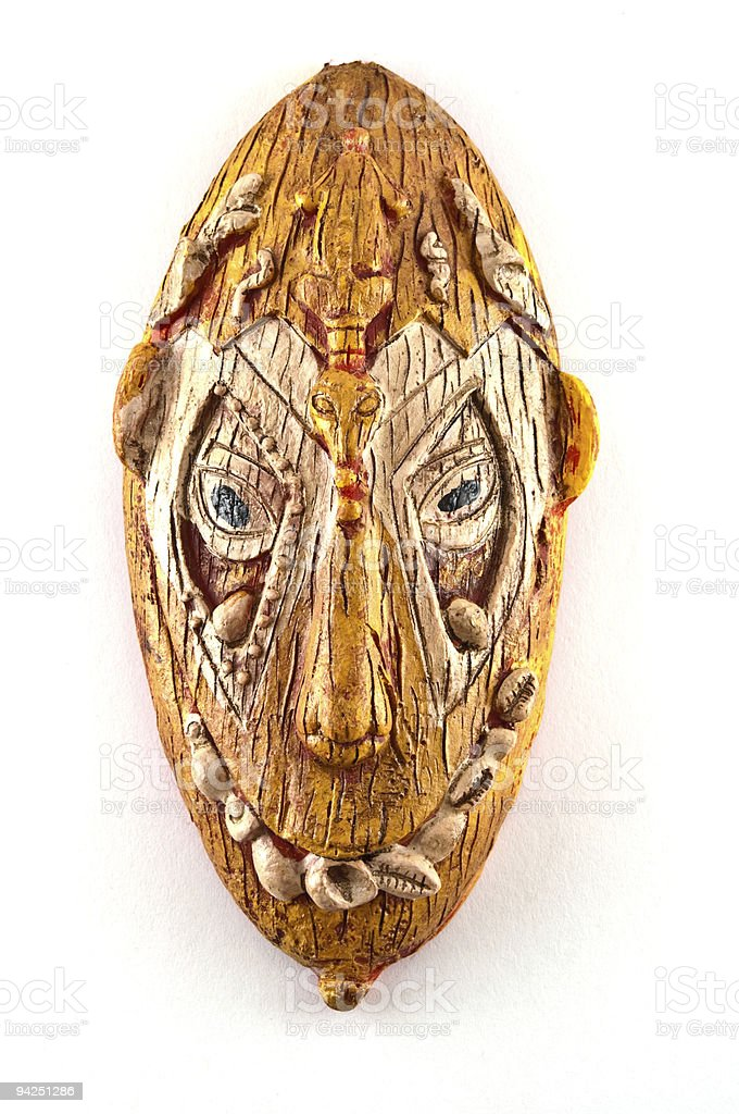 Ceramic Crooked toothed tribal mask royalty-free stock photo