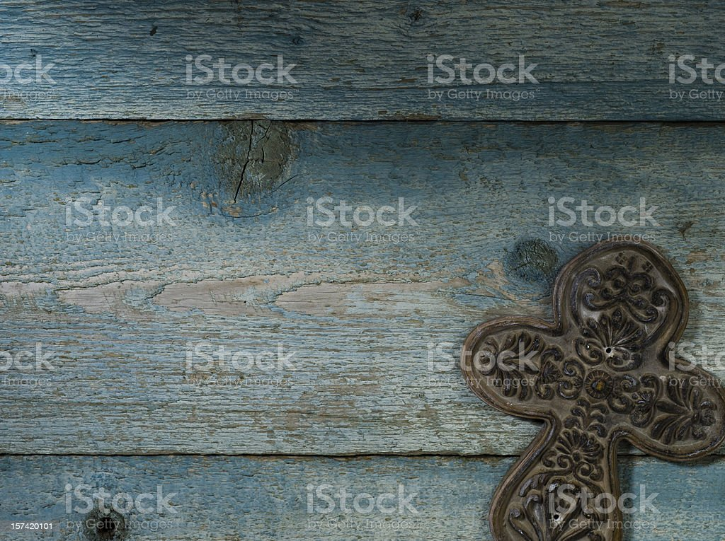 Ceramic Cross, lower right on Weathered Wood - XXXL royalty-free stock photo