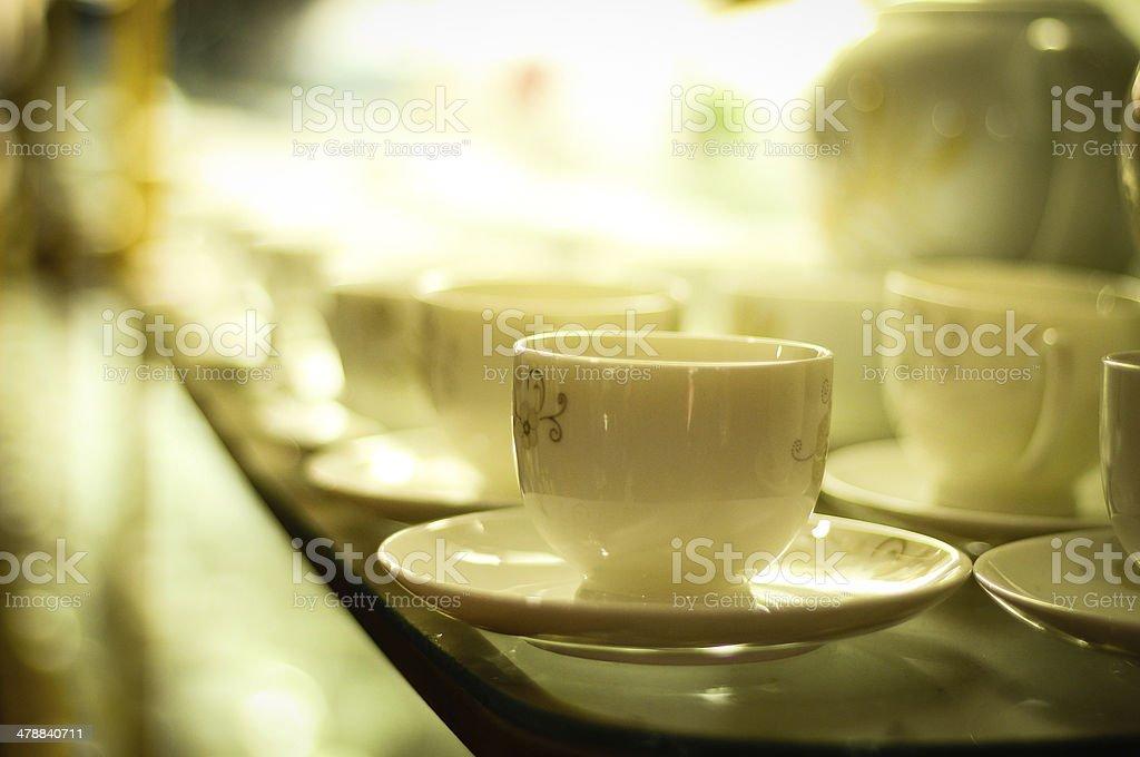 Ceramic cups in Bat Trang village - Vietnam stock photo