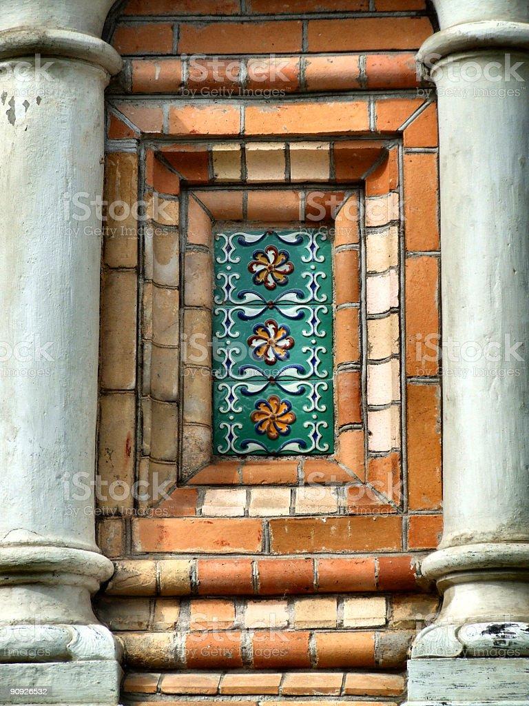 Ceramic decoration in architecture stock photo