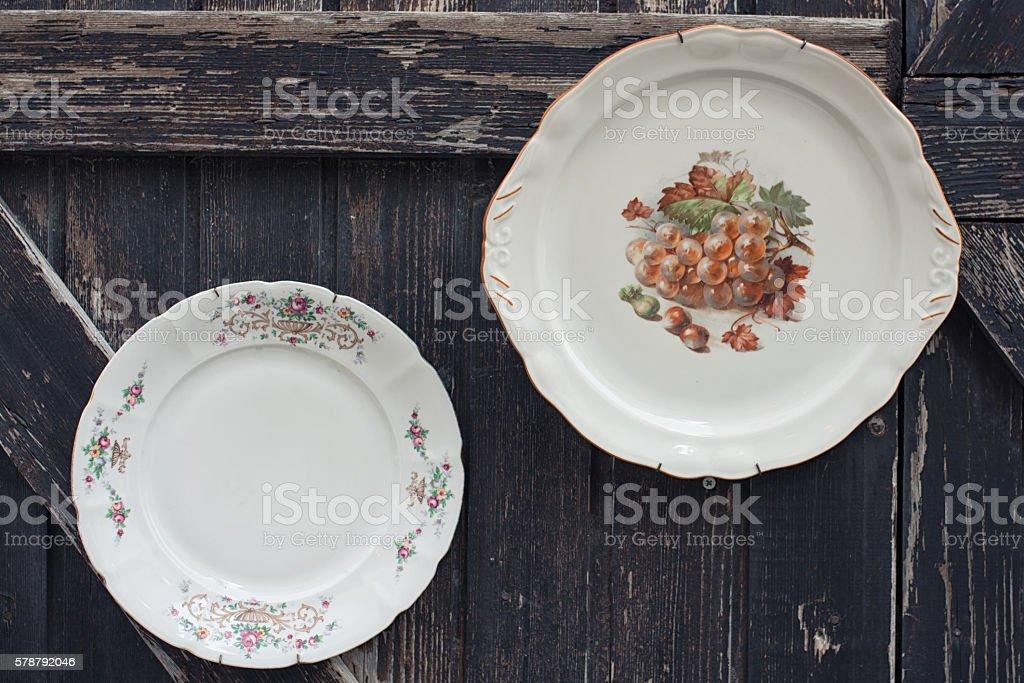 ceramic dish on wood table stock photo